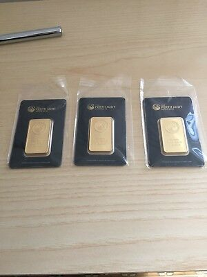 3 Lingotti Oro Perth Mint Bullion Gold Goldbarren 1 Ounce NOT PURE GOLD!!
