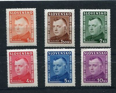 Slovakia Ww2 German Puppet State 1945 Scott 110-115 Perfect Mnh