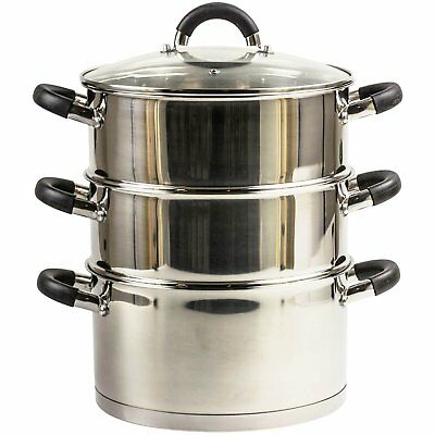 24cm STAINLESS STEEL VEGETABLE FOOD STEAMER SET 3 TIER INDUCTION BASE GLASS LID