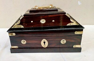 Antique Style Traditional Treasure Jewelry Box Dowry Kerala India Wooden box New
