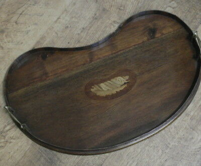 antique mahogany inlay work kidney shaped  DRINKS SERVING TRAY
