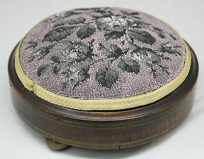 Victorian Beaded Wooden Footstool, with Rose Design.  FREE UK POSTAGE