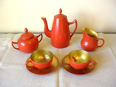 A Chinese Foo Chow An Cheng Kee Gilt and Red Lacquered Tea Service c1930