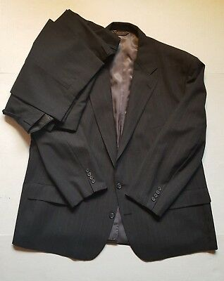 Nordstrom Plus One Mens Big & Tall Gray Striped Wool 2 Piece Suit 52R 46x27