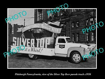Old Large Historic Photo Of Pittsburgh Pa, The Sliver Top Beer Parade Truck 1950