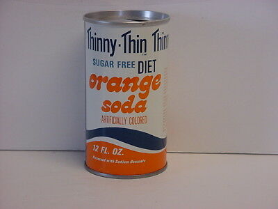Vintage Thinny-Thin Diet Orange Straight Steel Pull Tab Top Opened Soda Can