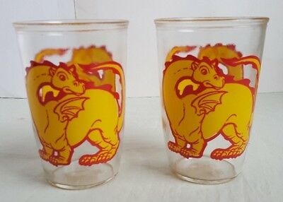 Two Vintage DRAGON Jelly Jam Drinking Glasses #5047 B