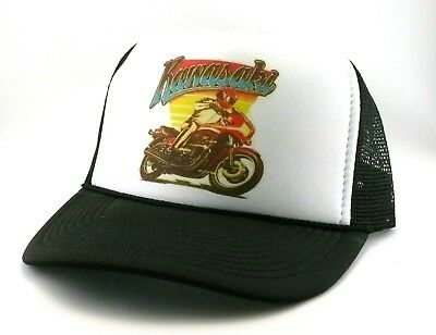 71b80574 Vintage Kawasaki Trucker Hat mesh hat snap back hat black street bike  1980's NEW