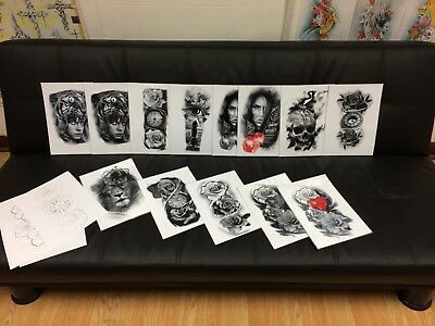 Tattoo Flash Set 2. A4 Size Black And Grey 10 Laminated Sheets.with Linework