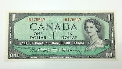 1954 Canada 1 One Dollar Prefix VP Money Canadian Circulated Banknote E278