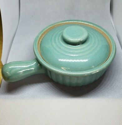 Vintage Turquoise Individual Crock Casserole Dish Soup Bowl Covered Lid USA