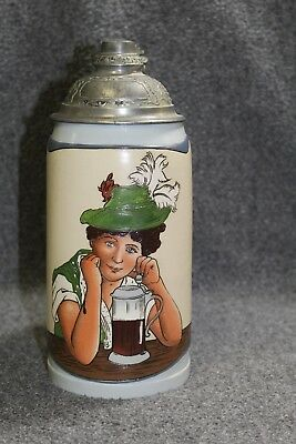 "Mettlach Antique Tapestry Stein Number 3087,  ""Tyrolean Woman"" Rare 1 Liter"