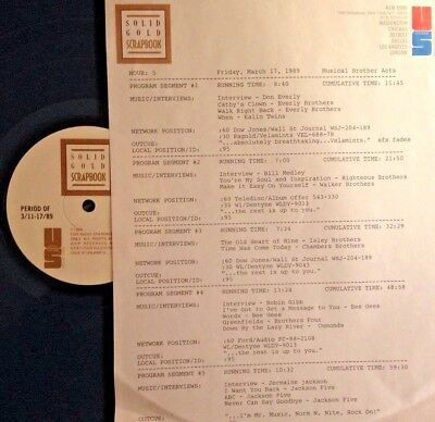RADIO SHOW:BROS 3/17/89 FULL SETS w/RIGHTEOUS BROS, BEE GEES, JACKSON 5; EVERLYS