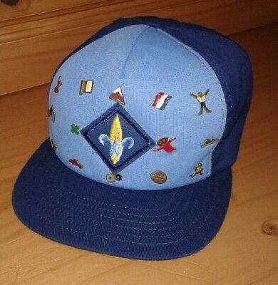 Vintage 70's boy scout webelo cap hat with pins