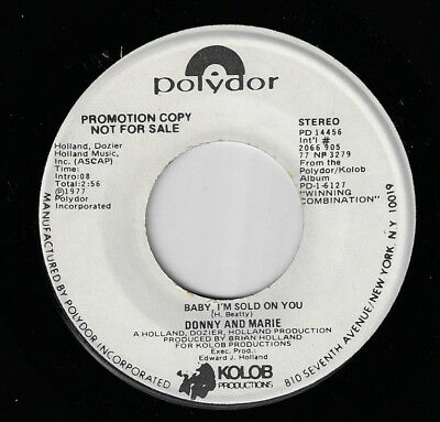DONNY AND MARIE OSMOND - Baby I'm Sold On You / U.S. Promo 45  HEAR!