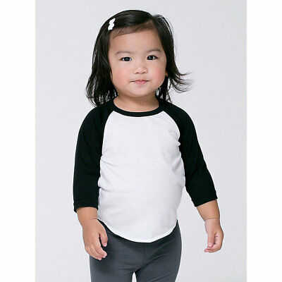 American Apparel Infant Poly-Cotton 3/4 Sleeve raglan baseball toddler bb053