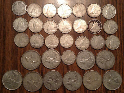 Big Lot Of Silver Canada 25 Cents And 10 Cents Quarters And Dimes 32 Coins Total
