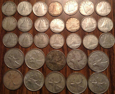 Big Lot Of Silver Canada 25 Cents And 10 Cents Quarters And Dimes 31 Coins Total