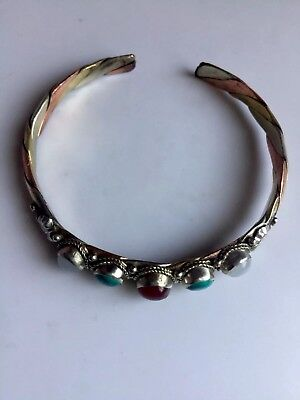 5 Turquoise stones, brass,, white metal and copper   Bracelet  made in Nepal