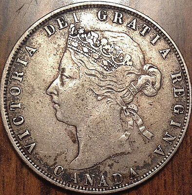 1872H Canada Silver 50 Fifty Cents In Great Condition !!