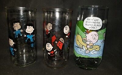 Vtg 1950's Peanuts collectors glasses lot Camp Snoopy, Charlie Brown, Lucy