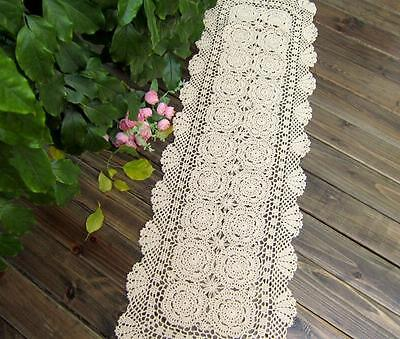 OBLONG 16''X64'' White Beige Handmade Crochet Lace Tablecloth Runner Doilies B06