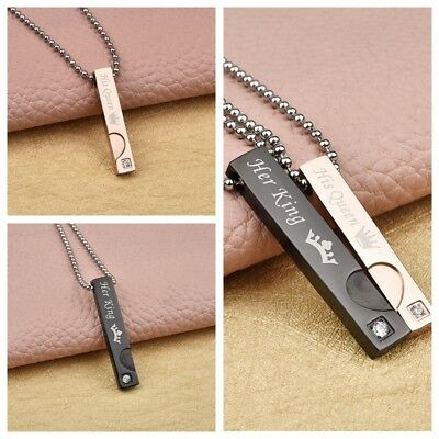 bc814d0e72 New Stainless Steel His Queen and Her King Promise Matching Love Couple  Necklace