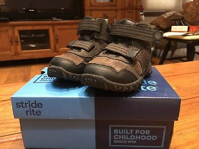 Stride Rite Rugged Ritchie 2 Dark Brown High Top Shoes Boots Size 7W