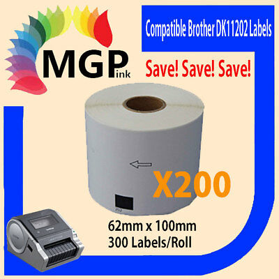 200 Compatible for Brother DK11202 Refill only Label 62mm x100mm QL570 QL700