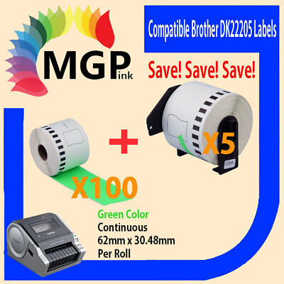 100+5 Compatible for Brother DK-22205 Continuous Green Roll 62mmx30.48m QL570