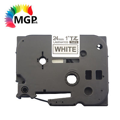 20X LAMINATED 24MM Black on White Label Tape for Brother TZ251 PT2430PC PT9500PC