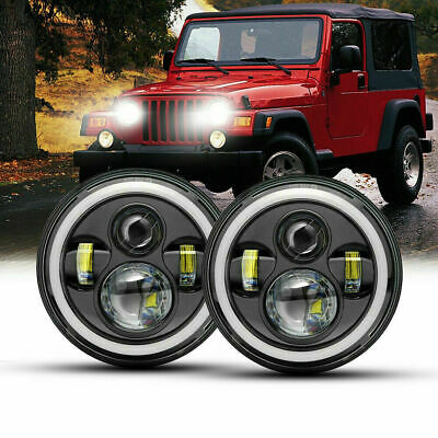 2x 7 Inch LED Headlight Halo DRL Angel Eyes for NISSAN PATROL GQ JEEP WRANGLER