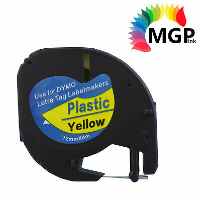 4x Generic LetraTag Plastic Tape for Dymo 91202 SD91202 Black on Yellow 12mmX4m