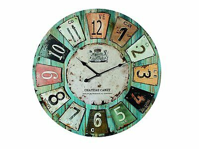 """Wooden Wall Clock Antique Style """"Chateau"""" 60cm Diameter 24 inches"""