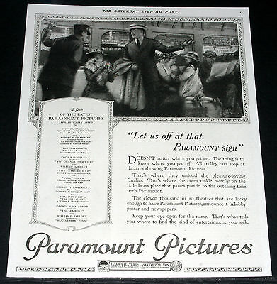 1920 Old Magazine Print Ad, Paramount Pictures, Trolley Cars Stop At Theatres!