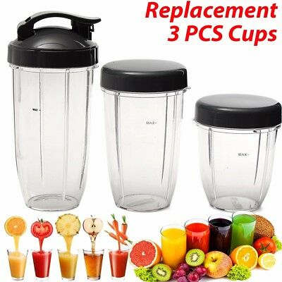 3Pcs Replacement Cups 32Oz Colossal + 24Oz Tall+Small Cup+3 Lids For Nutribullet