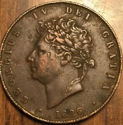 1826 Uk Gb Great Britain Halfpenny In Very Nice Condition !