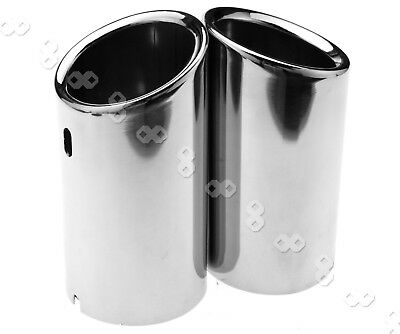 2Pcs Exhaust Pipe Tip Chrome Stainless Steel TRIM For VW SCIROCCO 2008-2014