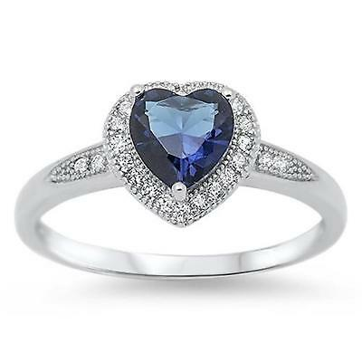 HEART ~ Genuine STERLING SILVER RING Simulated Sapphire  Size 7 8 9 10 / O Q S U