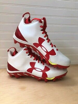 newest collection dacb0 a18ce New Under Armour Mens 13.5 White Red Spine Fierce MC Football Cleats  1269740 161
