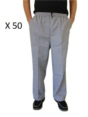 Wholesale Chef Uniform Pants Black And White Check With Draw String 5 Sizes X50