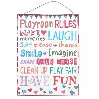 Playroom Rules Large Metal Plaque Children Kids Play Fun Toys Sign Hanging Wall