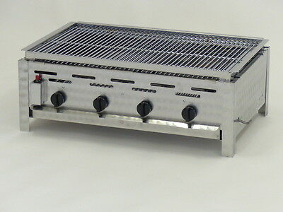 K+F Lavasteingrill mit Propangas, 4-flammiger Gasgrill - Made in Germany