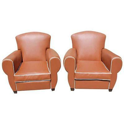 Pair of Vintage French Art Deco Club Chairs 1940s AS IS