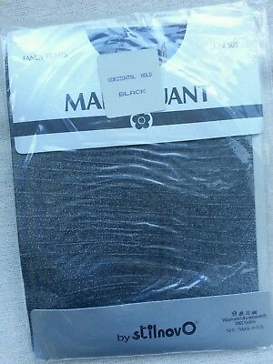 Vintage Mary Quant Fancy Tights Horizontal Hold Colour Black One Size - Regular
