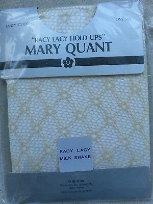 Vintage Mary Quant Fancy Stocking Racy Lacy Hold Ups Colour Milk Shake One Size