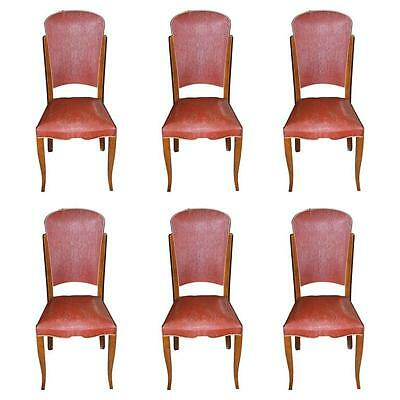 Exceptional Suite of Six French Art Deco Walnut Dining Chairs, circa 1940s AS IS