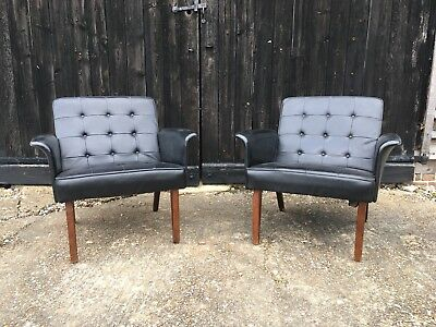 Pair Of Danish Style Armchairs Retro Mid Century