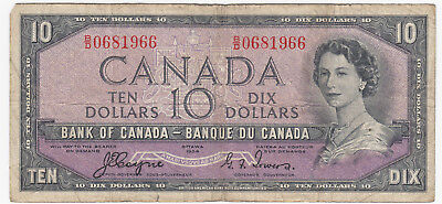 1954 Bank of Canada $10 - Devil's Face Note B/D0681966
