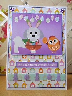 Handmade Shih Tzu Dog Easter Card Puppy Sunday Happy Greetings Chick Wuff Kisses